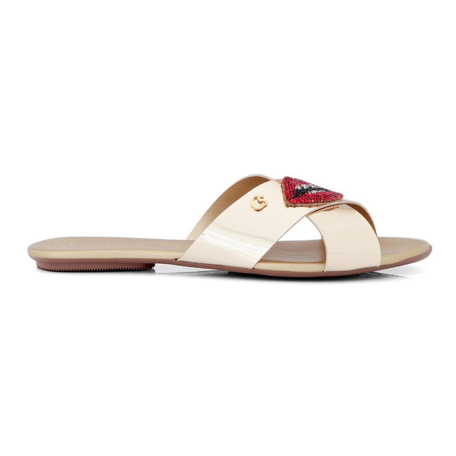 OPEN FLAT SANDAL WITH CRYSTALS