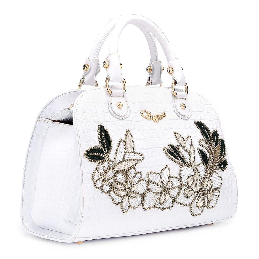 Handbag with Flower Applique
