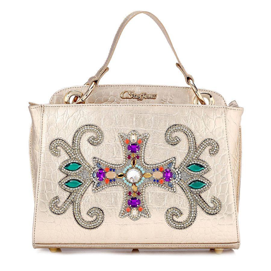 Handbag with Crystal Applique