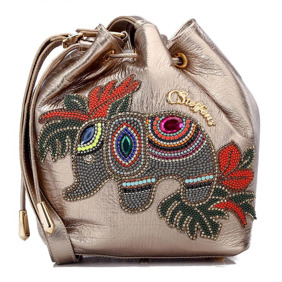 Handbag with Elephant Applique