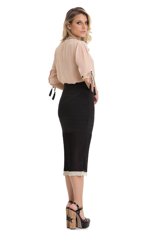 Midi Skirt with Draped Frills