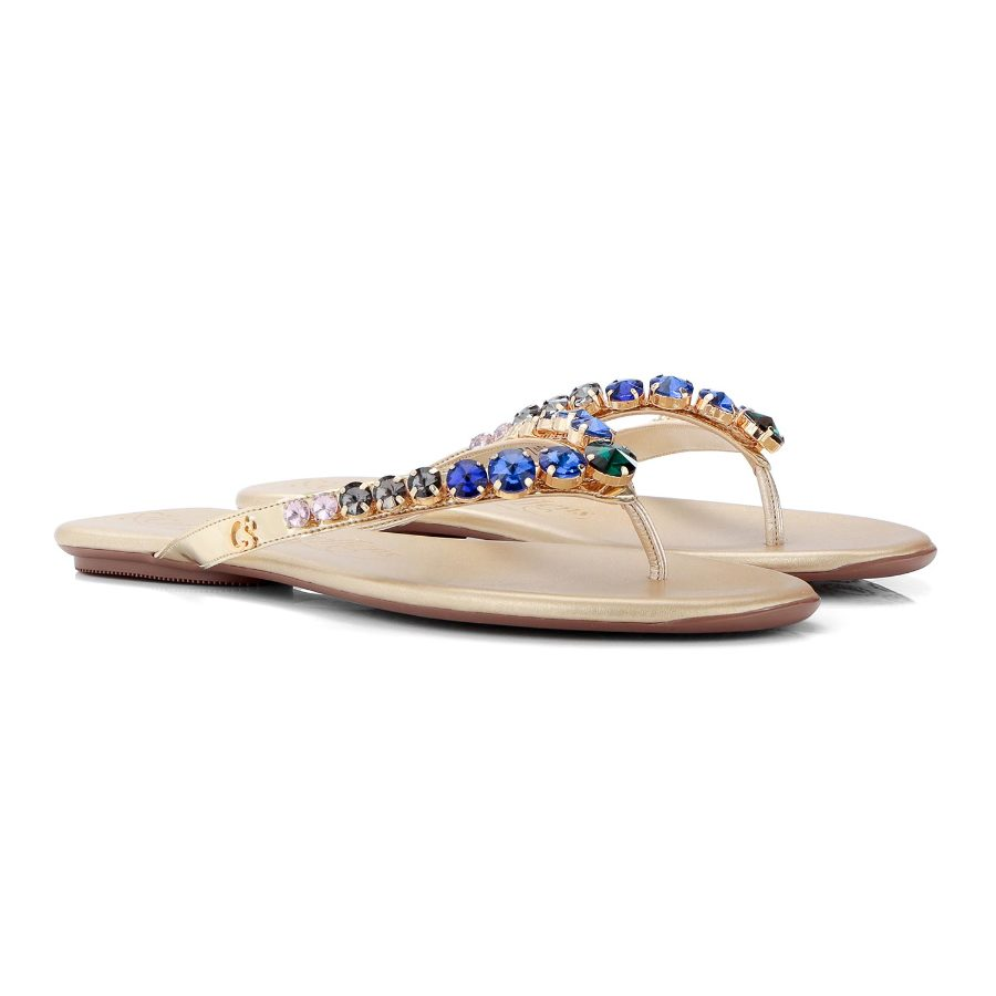 FLAT SANDAL WITH CRYSTALS