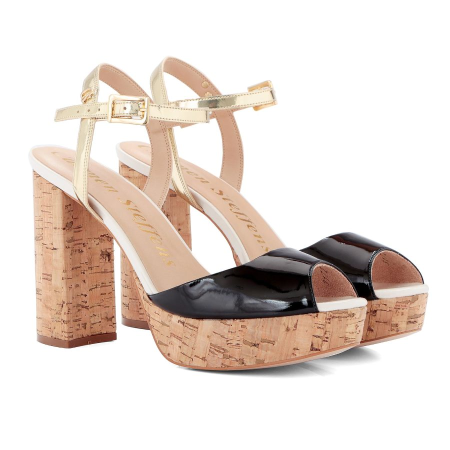 PATENT LEATHER PLATFORM SHOE WITH CORK HEEL
