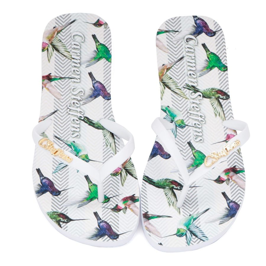 FLIP-FLOP WITH HUMMING BIRD PRINT
