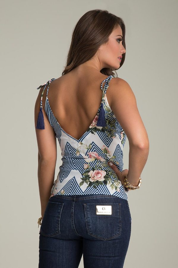 PRINTED TANK TOP WITH BOW
