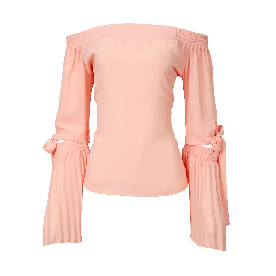 SHOULDER-TO-SHOULDER BLOUSE WITH PLEATED SLEEVES