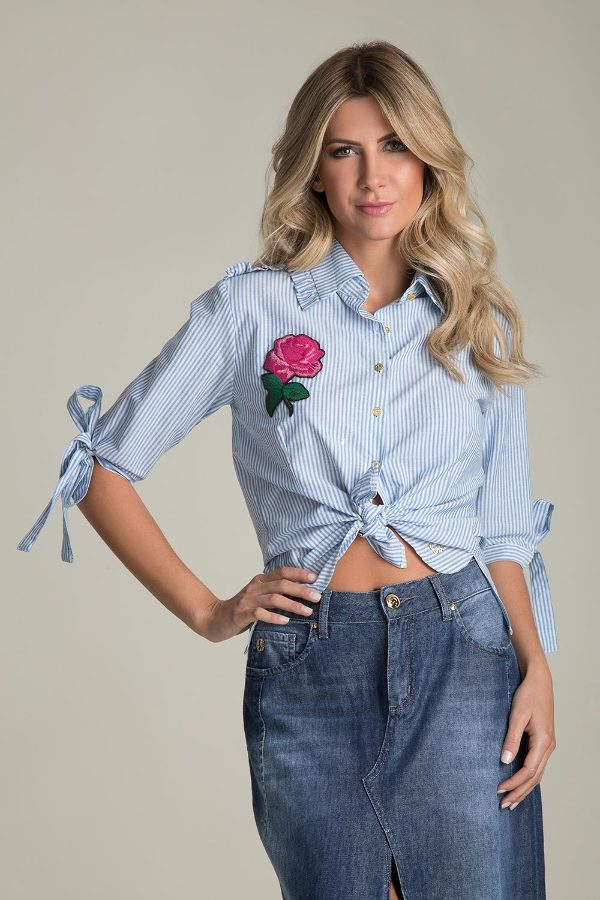 Navy SHIRT WITH EMBROIDERY