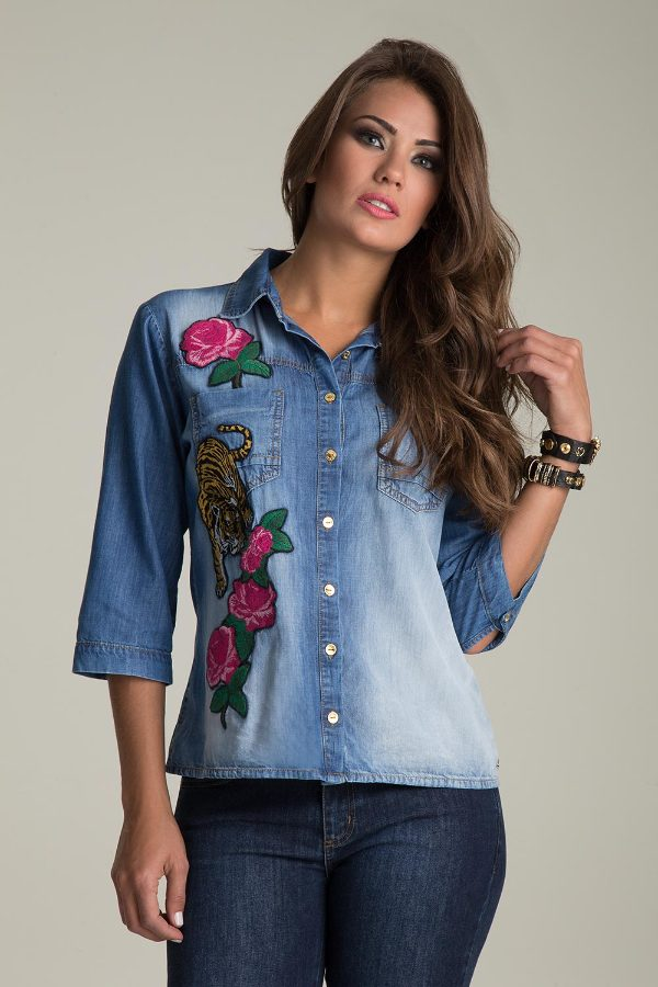 JEAN SHIRT WITH EMBROIDERY