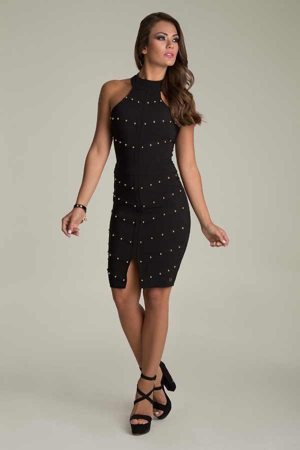 DRESS WITH APPLIQUES