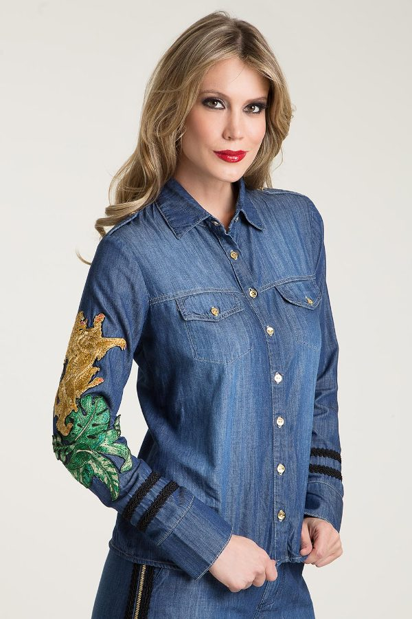 JEANS SHIRT WITH EMBROIDERY