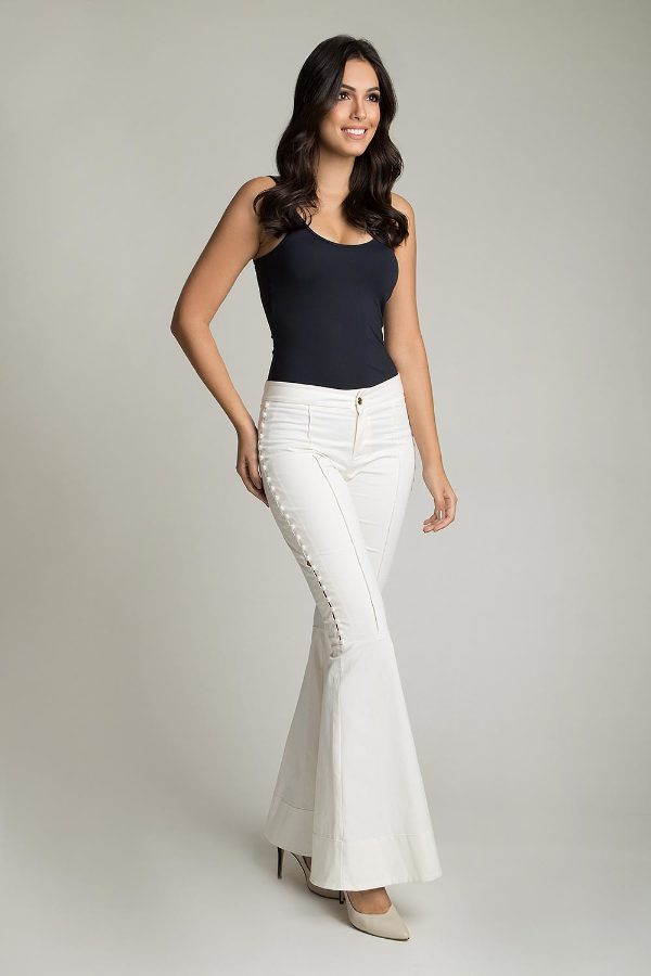 FLARE PANTS WITH PEARL APPLIQUES