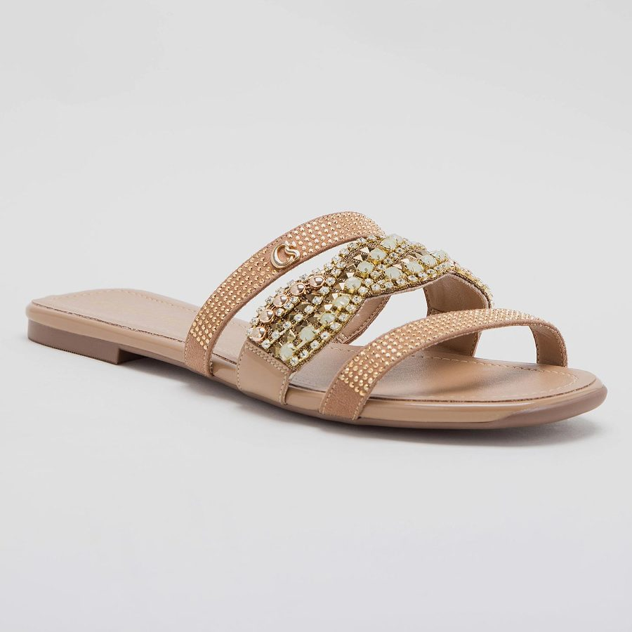 FLAT SANDAL WITH EMBROIDERY AND HOTFIX