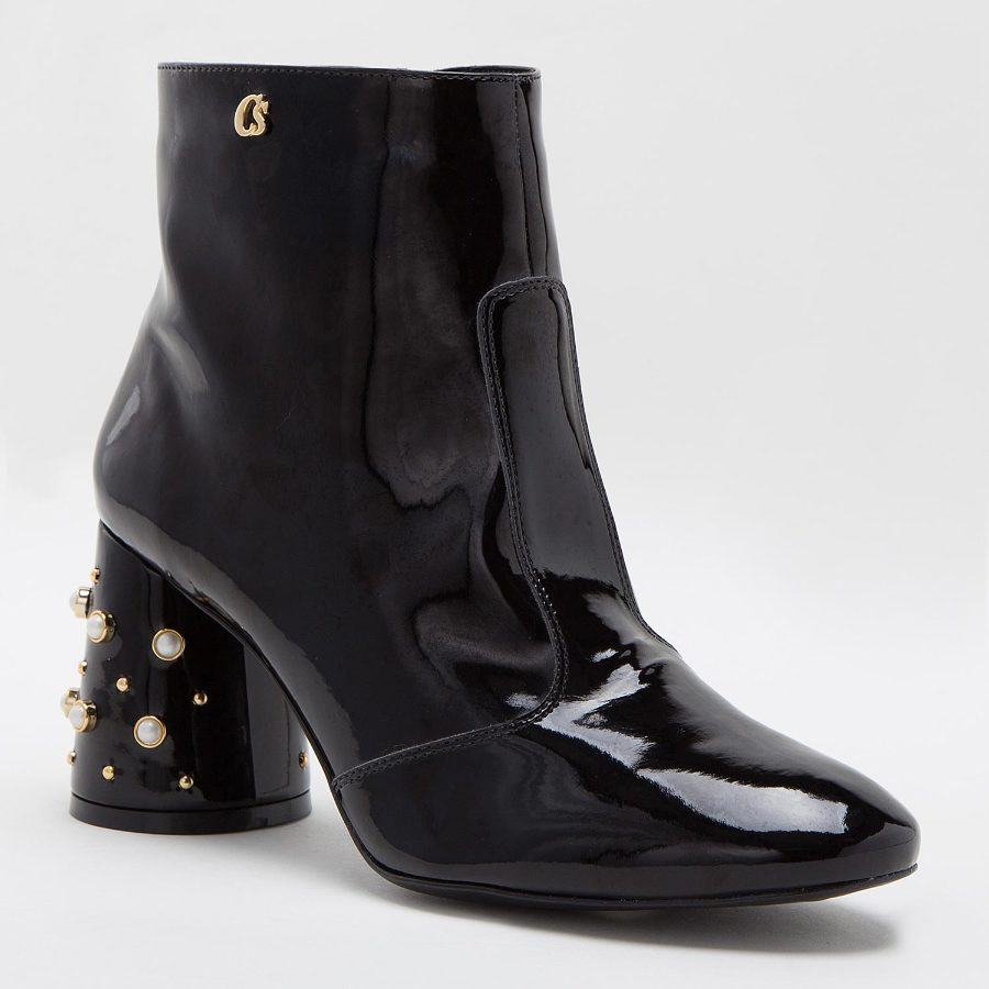 PATENT LEATHER ANKLE BOOT WITH PEARLS ON THE HEEL