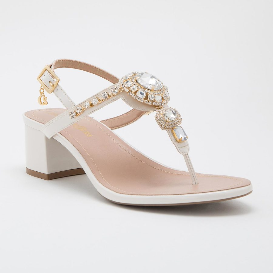 T-strap sandal with metal details