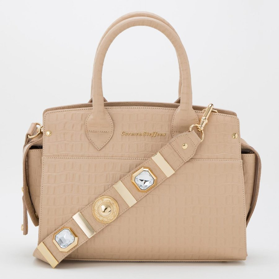 Handbag with studded strap
