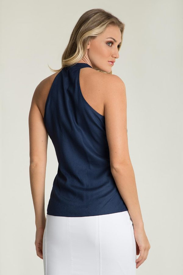 Silky high-neck top with buttons