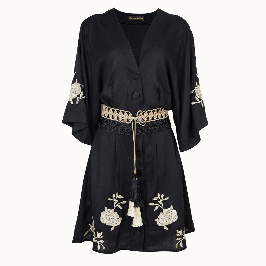 Kimono dress with embroidery