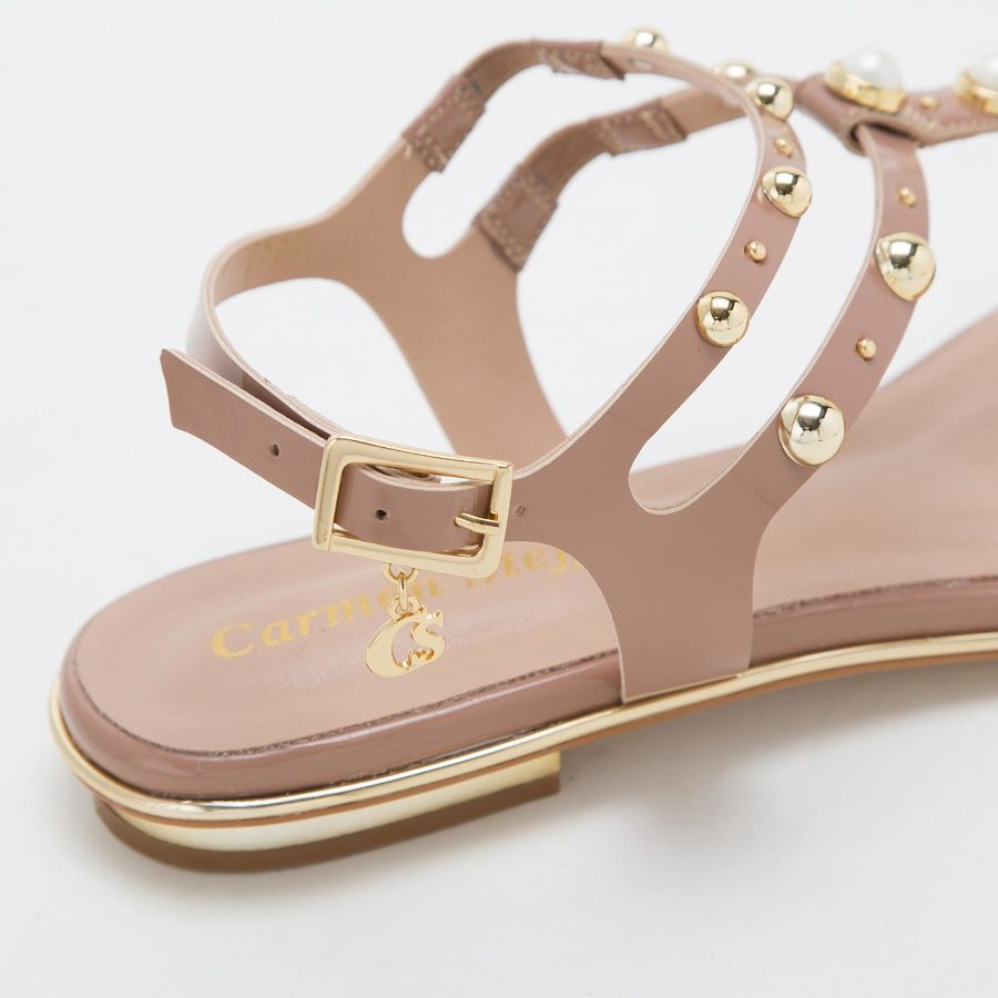 FLAT SANDALS WITH PEARLS