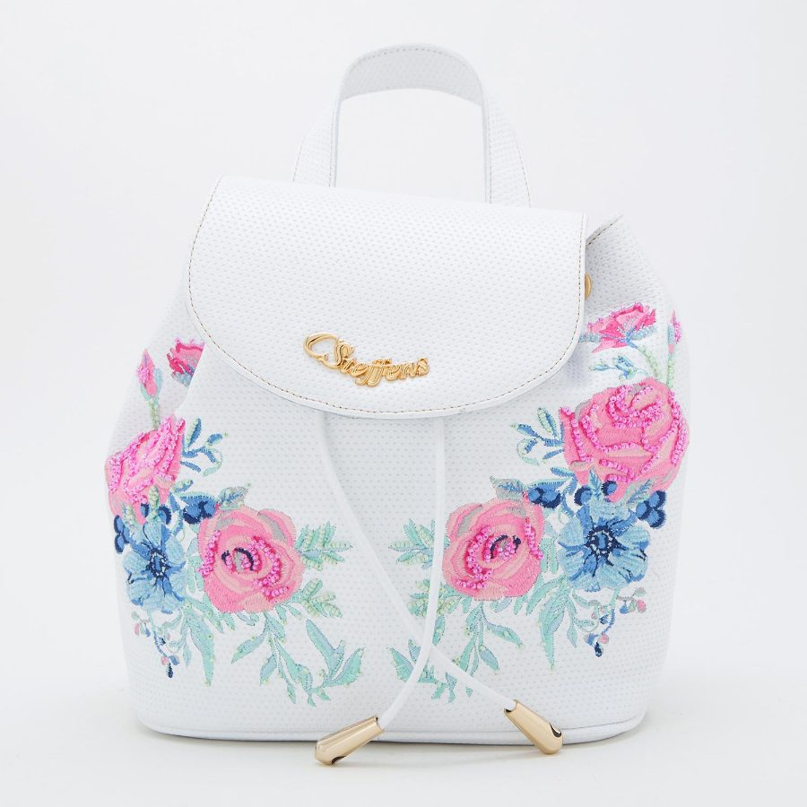 FLOWERS EMBROIDED BACKPACK