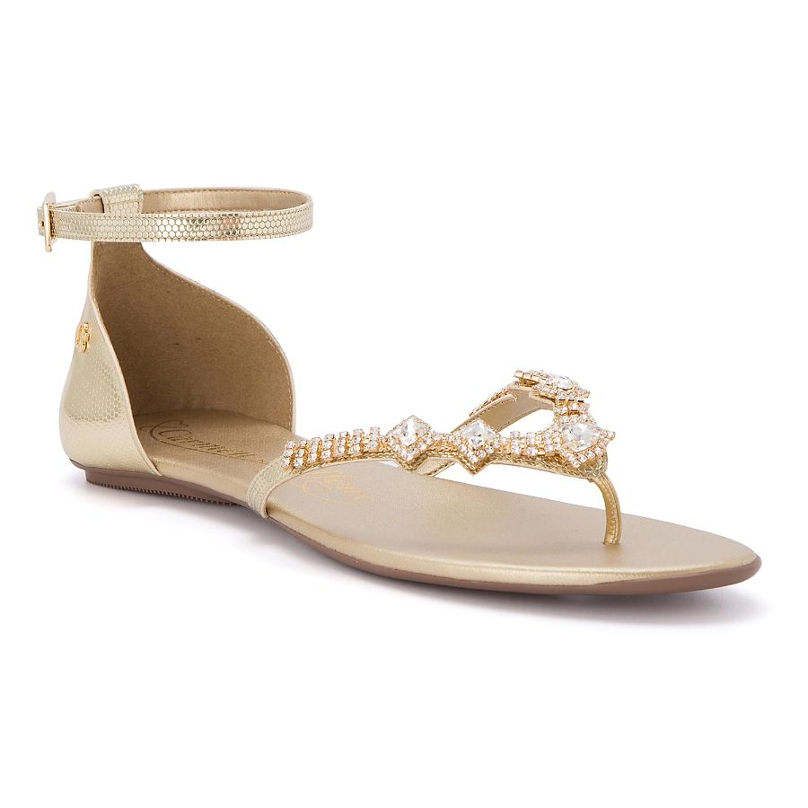 Ankle strap flat sandal with crystals