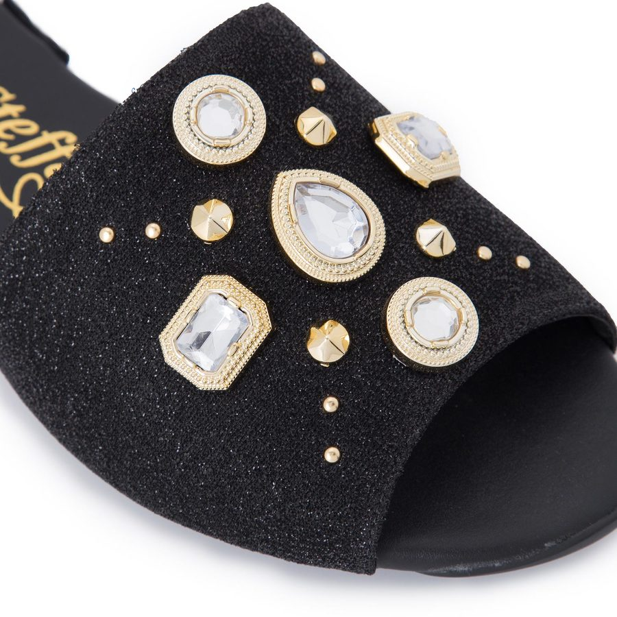 Slide sandal with metal studs and crystals