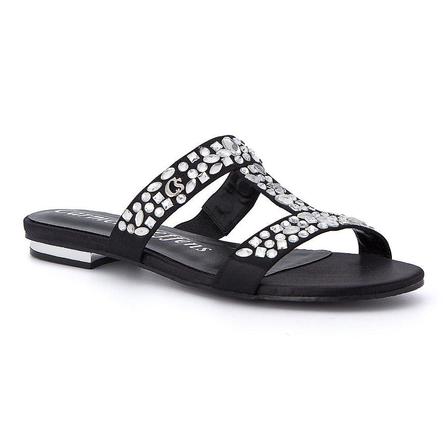 Slide sandal with crystals