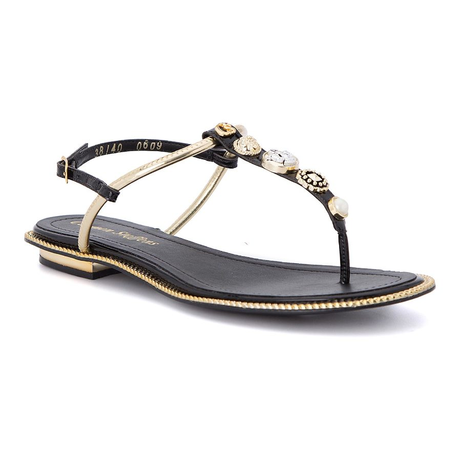 T-strap flat sandal with metal details