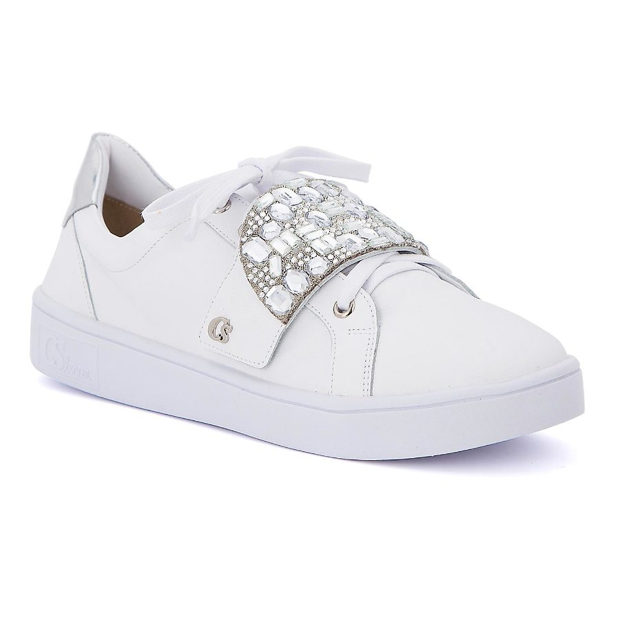 Tennis shoe with crystal embellishments