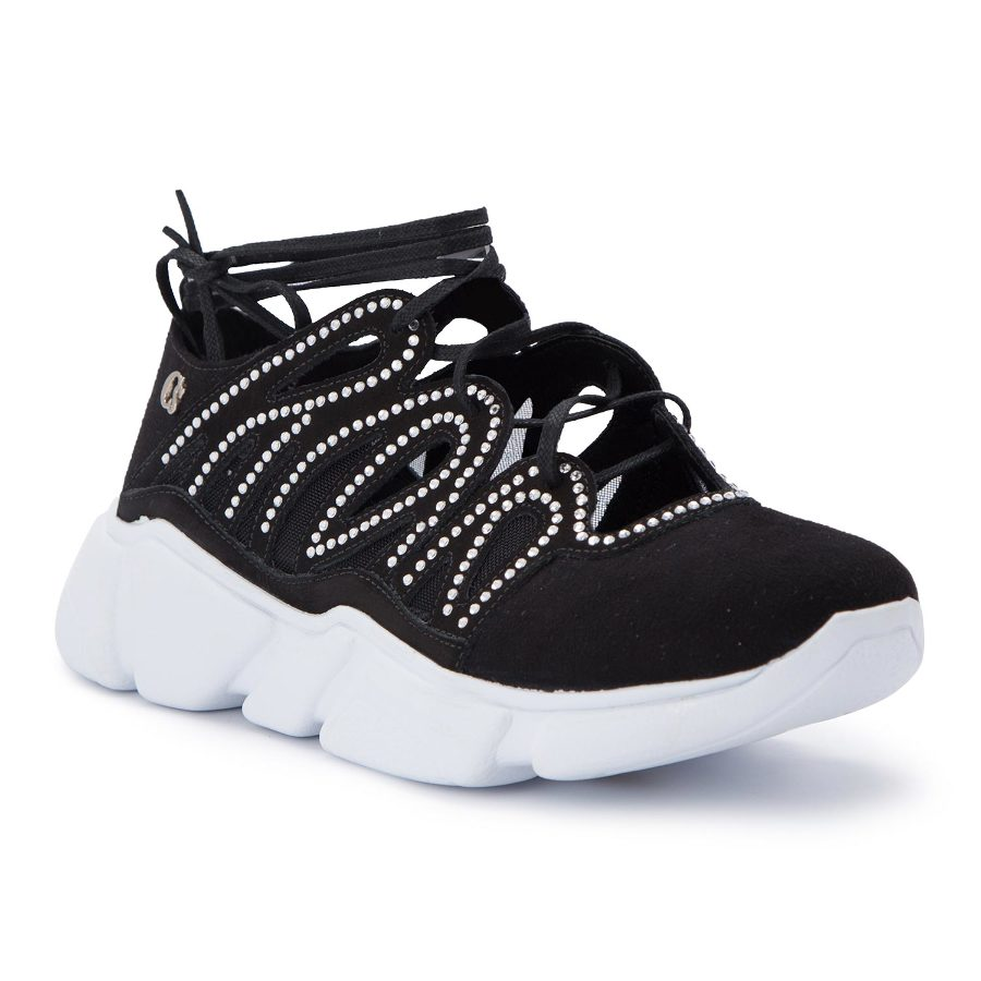Ankle tie tennis shoe with cutouts
