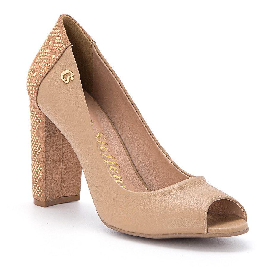 Peep toe pump with studded heel