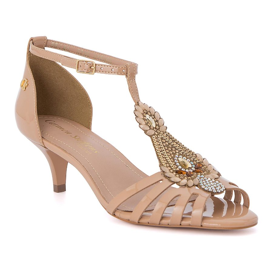 Kitty heel sandal with stonework