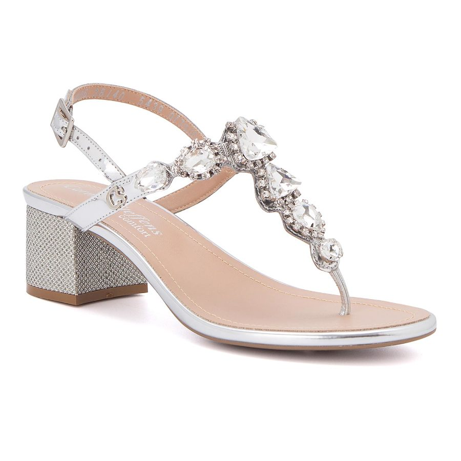 T-strap sandal with metal buckle