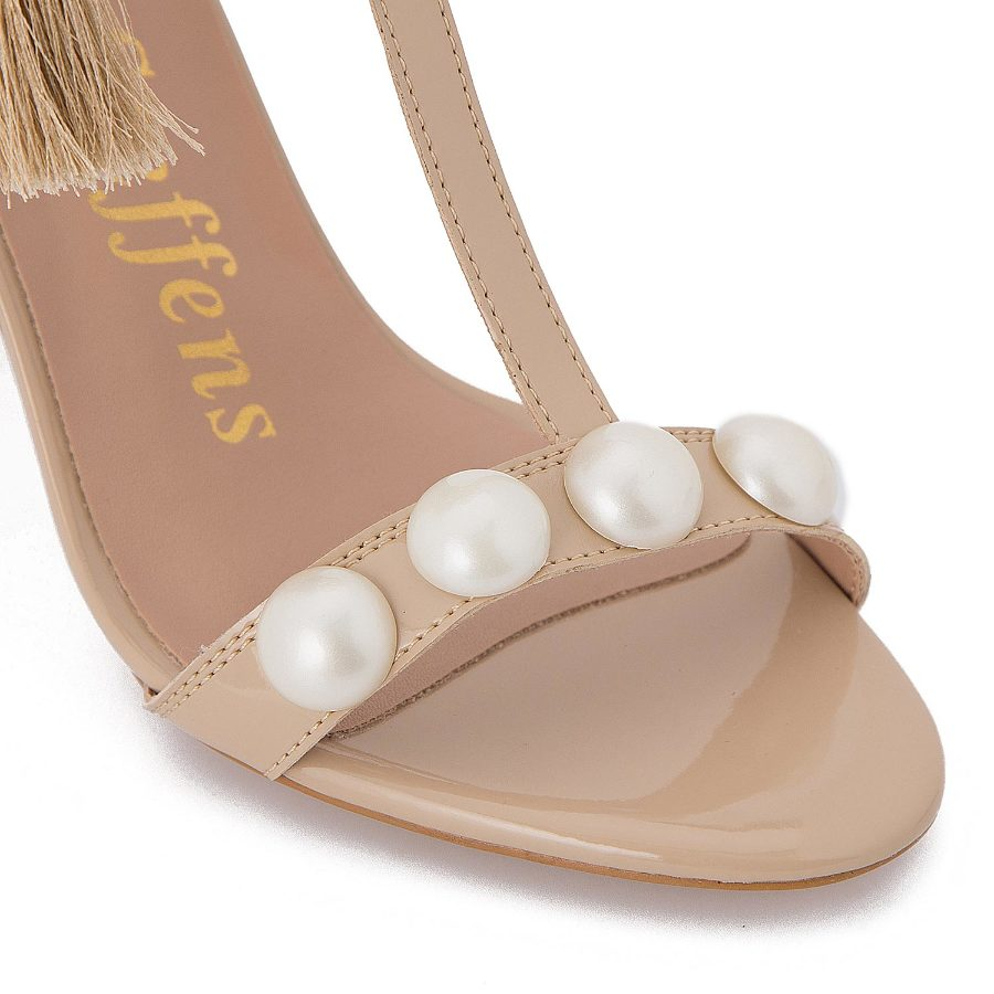Ankle tie sanad with pearls and tassles