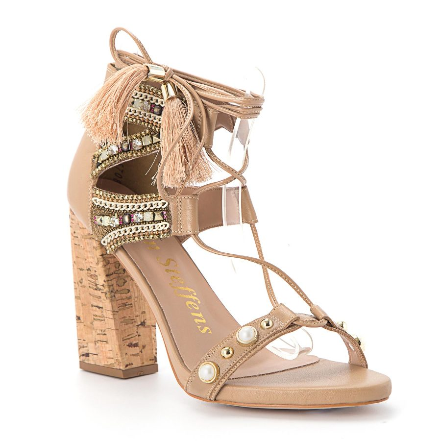 Strappy sandal with cork heel and studding