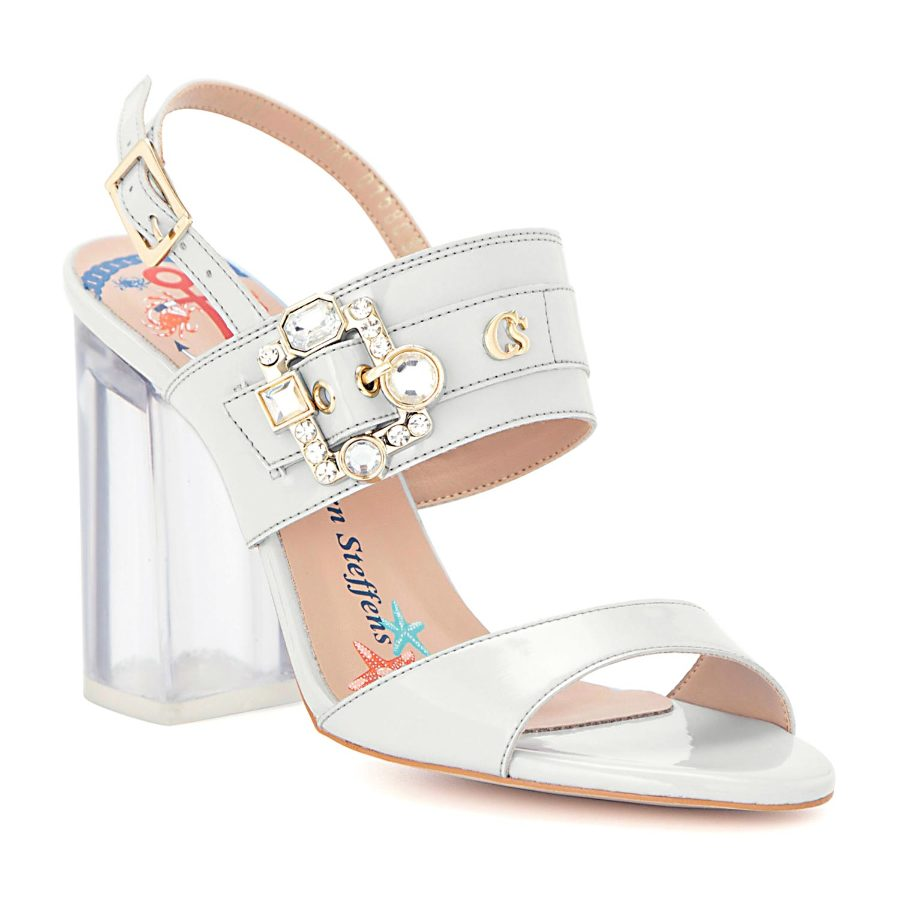 Silicone heel sandal with a crystal buckle