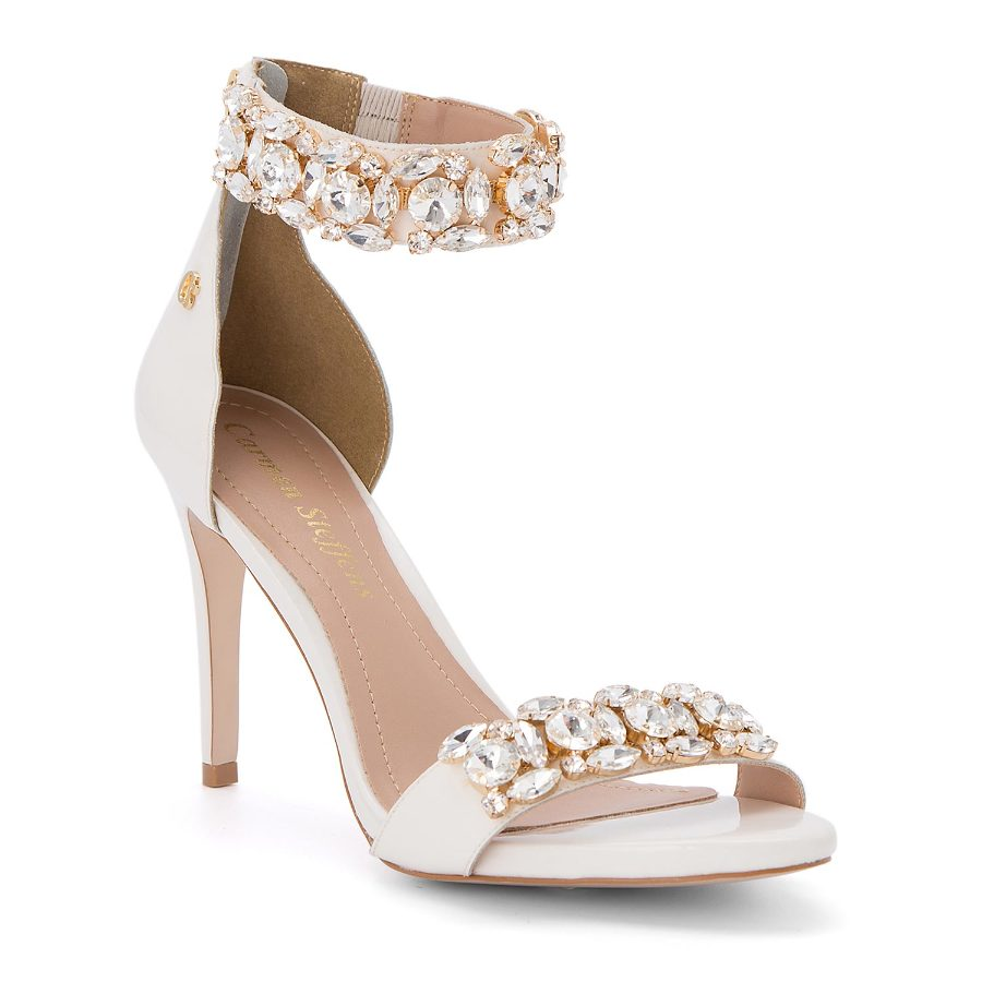 Ankle strap sandal with crystals
