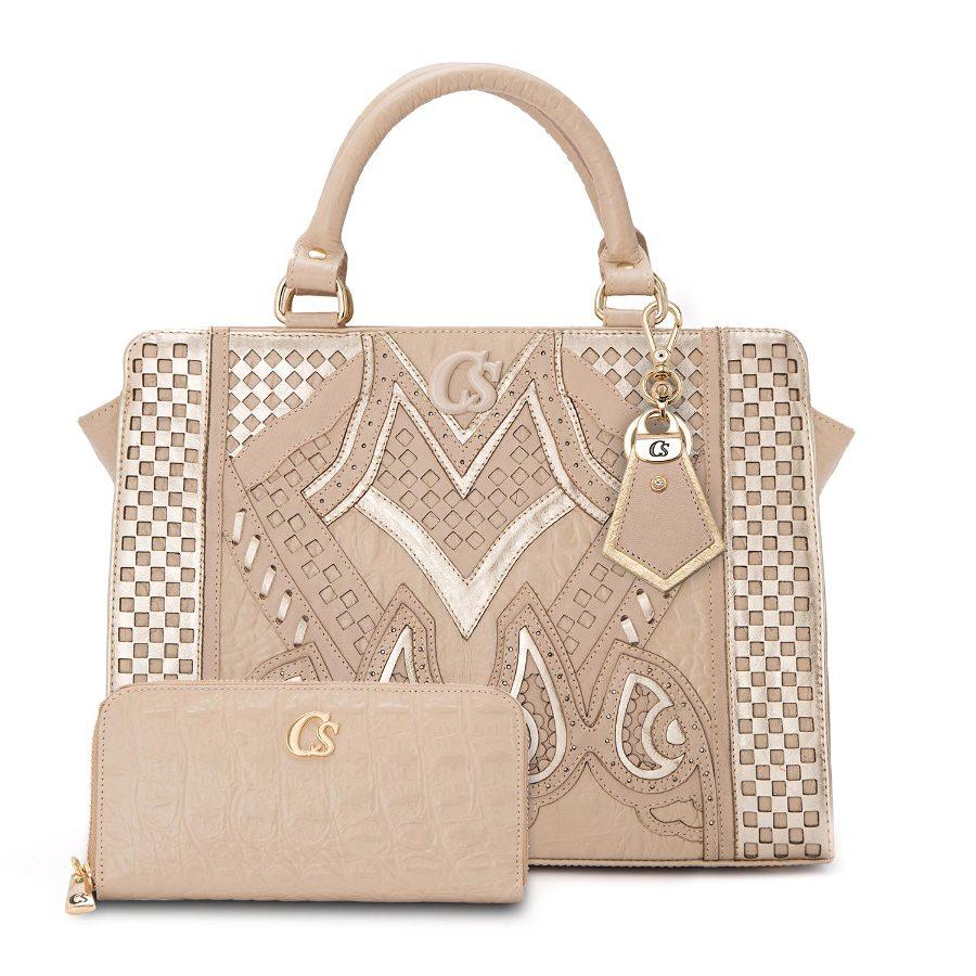 Handbag with laser-cut front