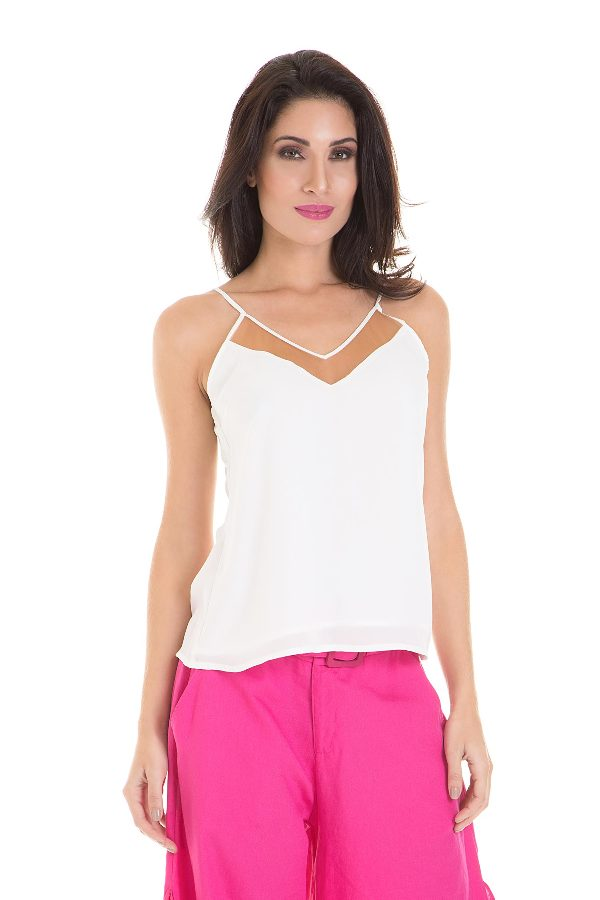 Tank top with mesh detail