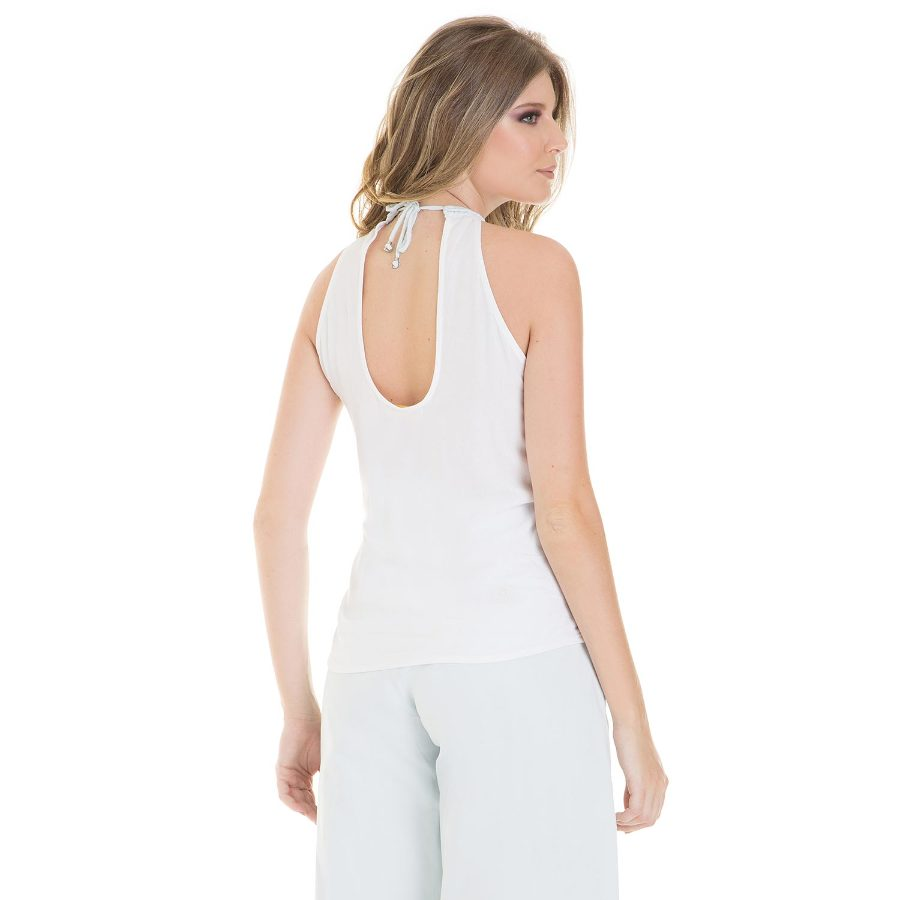 Halter top with embroidery