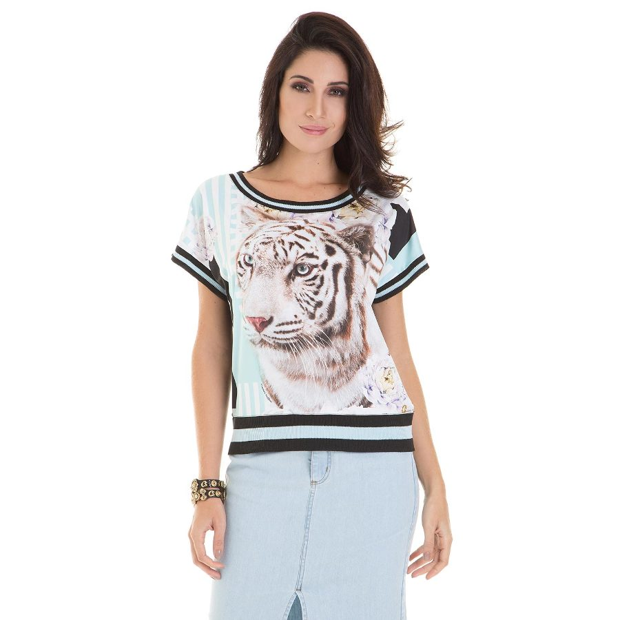 Printed top with knit hems