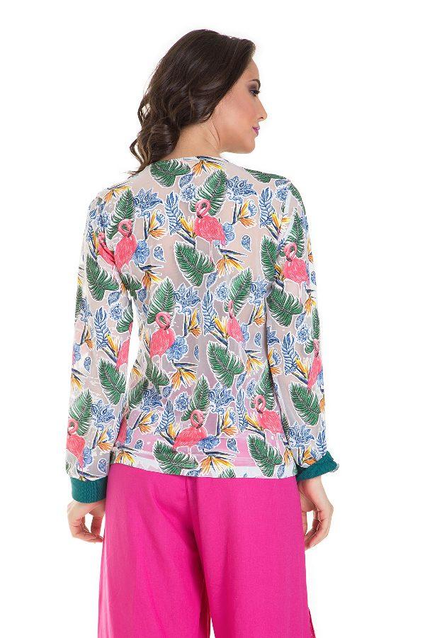 Printed button down blouse