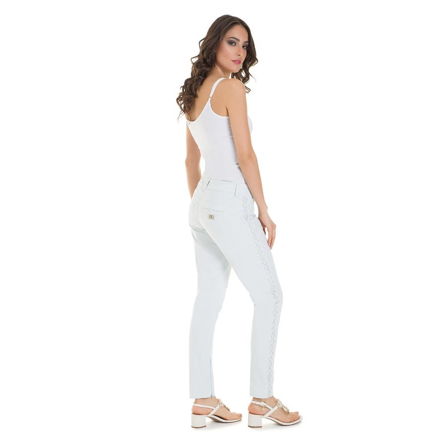 Pants with pearl appliques on sides
