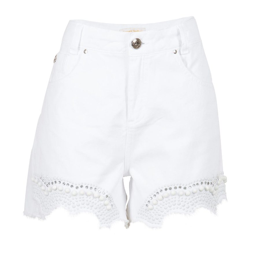 White denim shorts with pearl studs