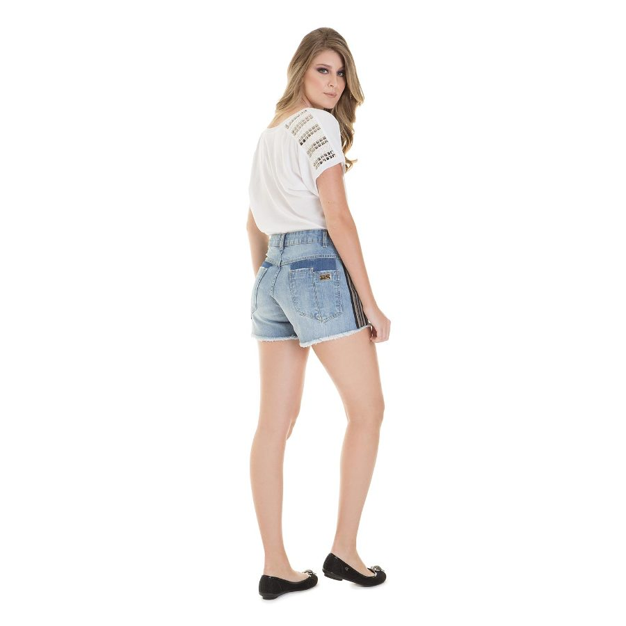 Jean shorts with side detail