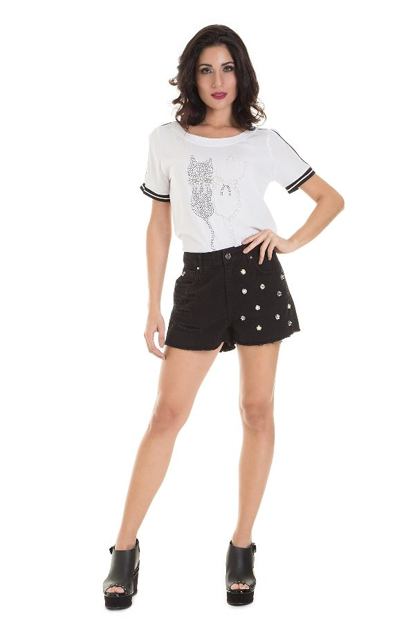 Black denim shorts with metal studs