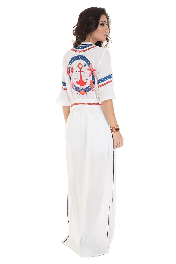 Nautical print maxi kimono