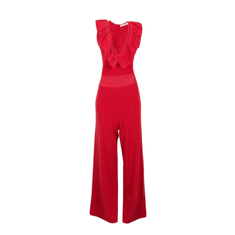 Deep neck knit jumpsuit with frills
