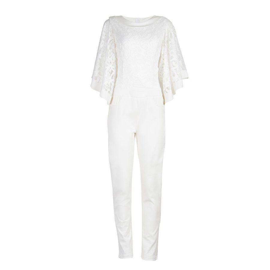 Lace jumpsuit with bat sleeve