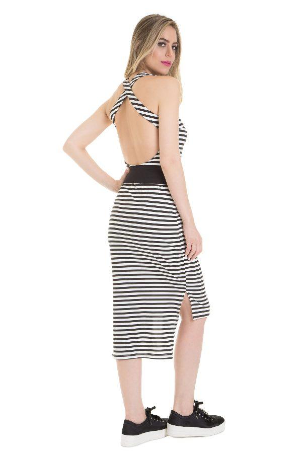 Stripped midi dress with belt