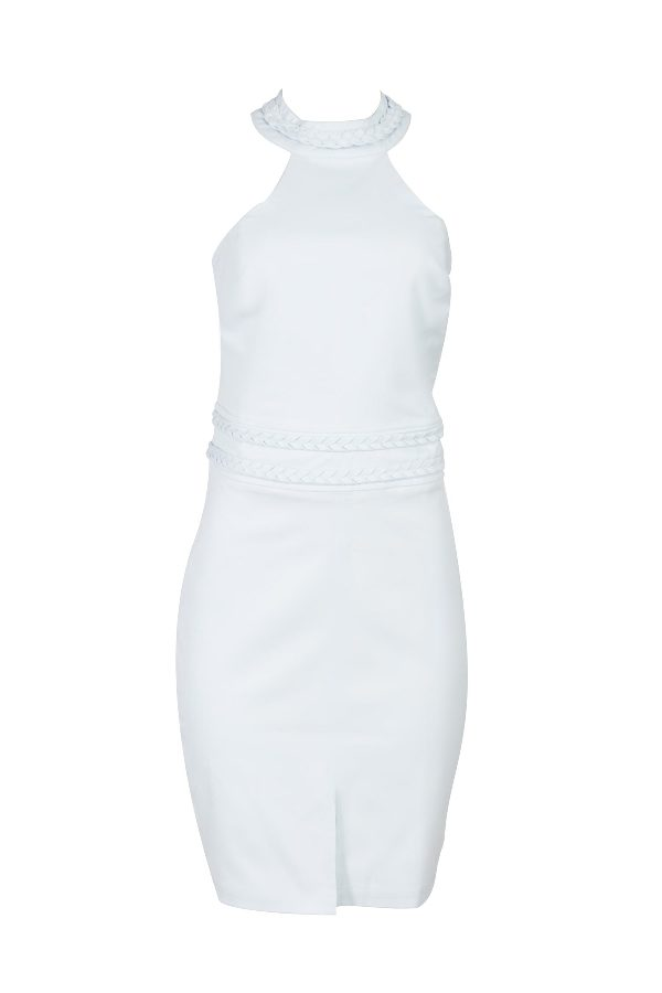 Halter midi dress with braided details